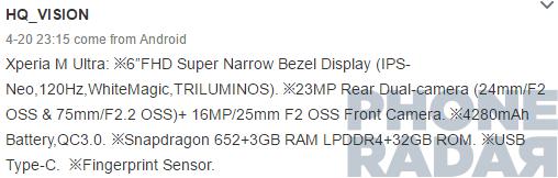 Xperia M Ultra teknik özellikleri