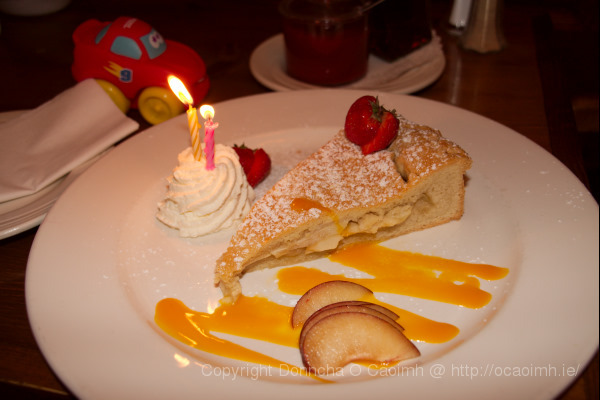 2 candles and an apple pie