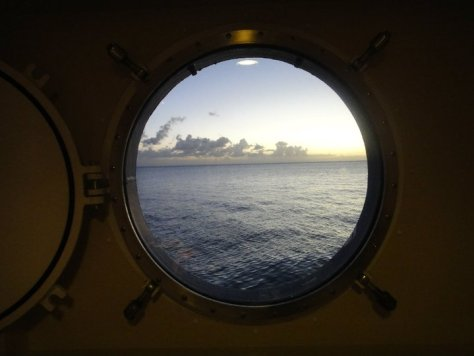 View from a Deck 2 Porthole on the MV Explorer Cruise Ship from Semester at Sea Study Abroad via ZaagiTravel.com
