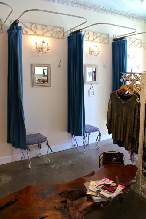 Dressing rooms at the Muse clothing and accessory boutique in Laguna Beach, California via ZaagiTravel.com