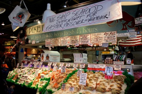 Seafood for sale at Pike Place Market in Seattle, Washington, United States via ZaagiTravel.com