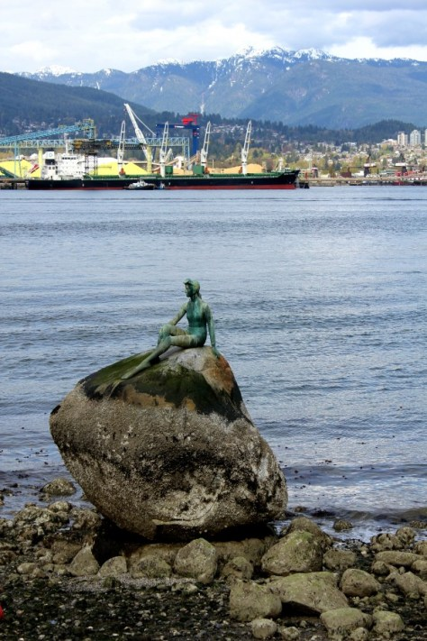 Girl in a Wetsuit by Elek Imredy, modeled after the Little Mermaid statue in Copenhagen, at Stanley Park in Vancouver, British Columbia, Canada via ZaagiTravel.com