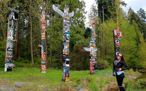 First Nationals totem poles at Brockton Point at Lumberman's Arch in Stanley Park in Vancouver, British Columbia, Canada via ZaagiTravel.com