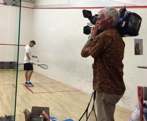 James finishing the 36-hour squash Guinness World Record on April 12, 2015 via ZaagiTravel.com