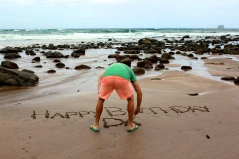 Happy Birthday message for my dad at Hot Water Beach in Coromandel, New Zealand via ZaagiTravel.com