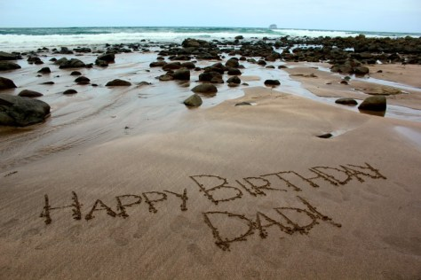Happy Birthday message for my dad at Hot Water Beach in Coromandel, New Zealand via ZaagiTravel.com