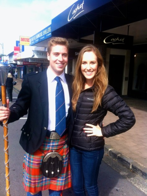 With my Jamesy, who was the Old Collegian pipes and drum band major at the Howick Anzac Parade via ZaagiTravel.com