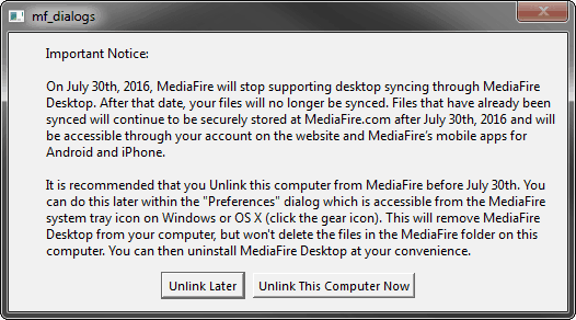 Mediafire shutdown notice