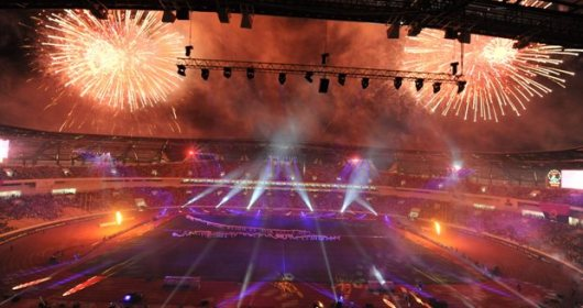 Fireworks and laser light display during the opening ceremony