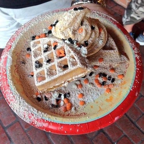 Pumpkin ice cream waffle sundae