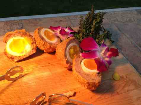 English Mustard Dusted Scotch Egg with Cranberry Marmalade