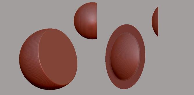 El efecto del Clip Brush al proyectar los polígonos hacia la izquierda.