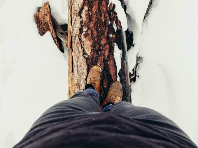 walking on a log