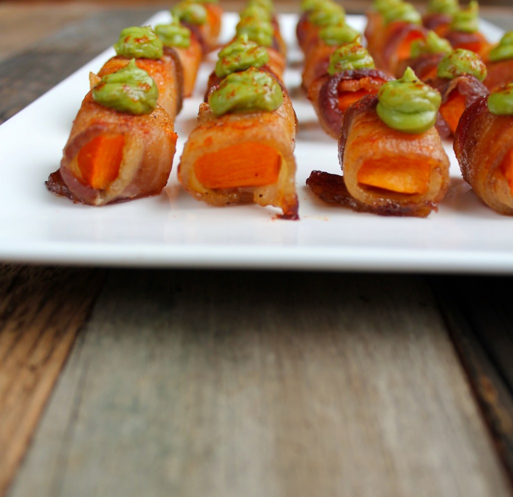 bacon wrapped sweet potato bites with avocado mousse