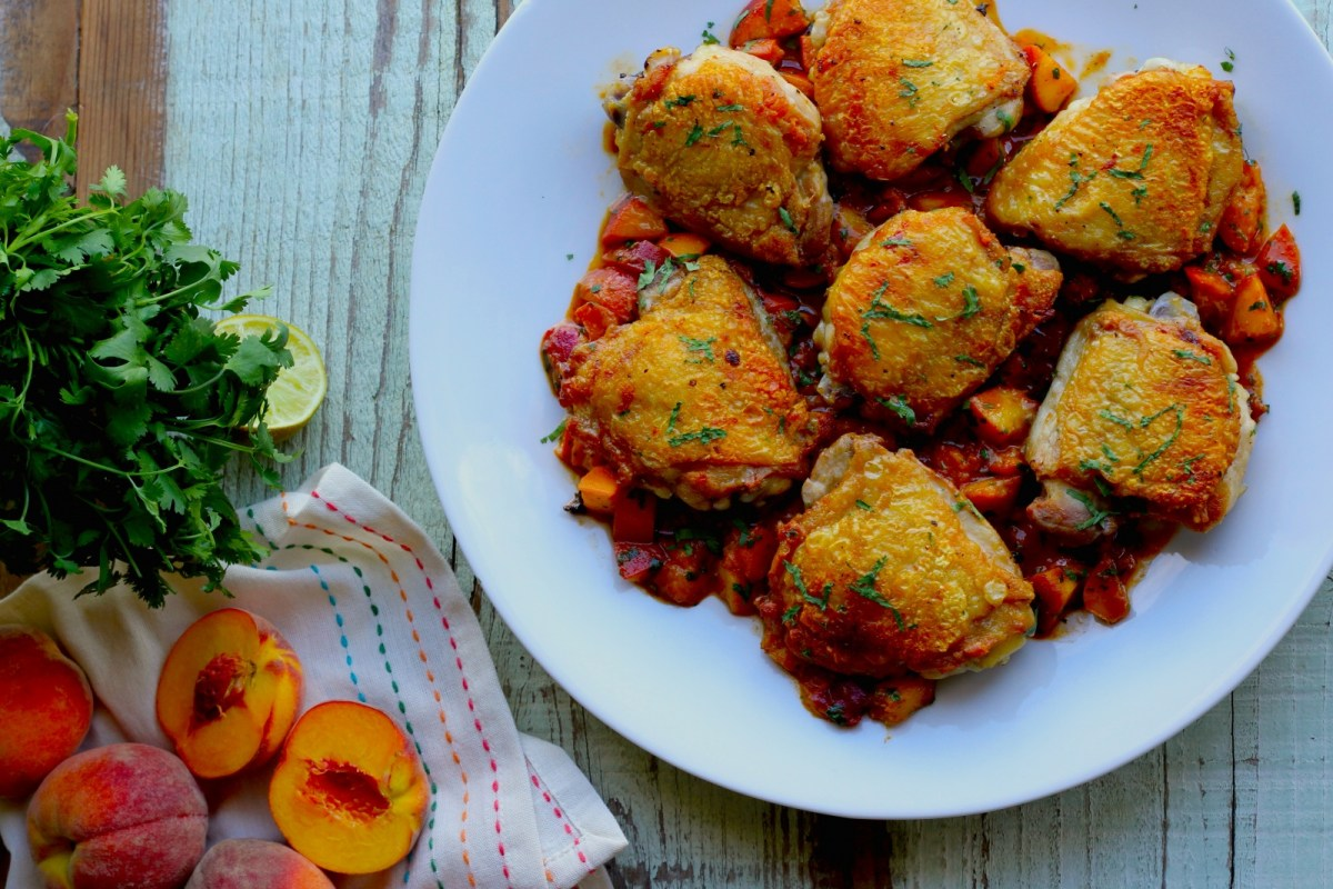 Crispy Chicken Thighs with Spicy Peaches