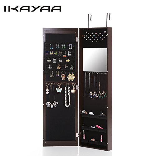 Mirrored Wall Mounted Hanging Jewelry Armoire U0026 Cabinet Wall Mounted Jewelry Cabinet34