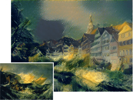 river in tubingen - J M Turner The Wreck of a Transport Ship version