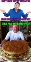 Who would join me in eating this giant hamburger?