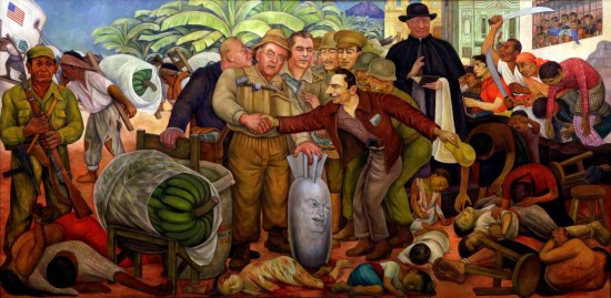 """This painting by Diego Rivera, """"Gloriosa Victoria,"""" tells the story of the 1954 overthrow of the democratically elected Jacobo Arbenz gov't. Coup Colonel Carlos Castillo Armas greets secretary of state John Foster Dulles, who holds a bomb with the face of Eisenhower, surrounded by people who were murdered in the coup. To his left is U.S. ambassador John Peurifoy with military officers and CIA director Allen W. Dulles whispering in his brother's ear. On the right, the archbishop of Guatemala, Mariano Rossell Arellano blesses the act, while Guatemalans protest."""