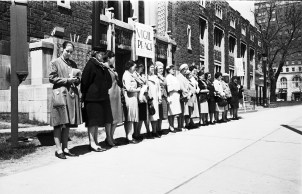 Mother's Day Vigil for Peace on May 11, 1963 by Voice of Women (VOW) at the Royal Ontario Museum.  Photo by Toronto Telegram staff photographer B. Palmer (Peter) Ward on .