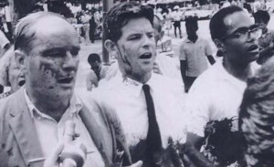"Dave Dellinger, Staughton Lynd, and Robert Moses at a protest against the Vietnam War in Washington, D.C. in August 1965. From the book ""Direct Action: Radical Pacifism from the Union Eight to the Chicago Seven."""