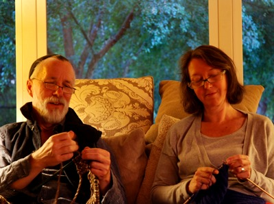 Julia and Steven knitting after a day in Petaluma California