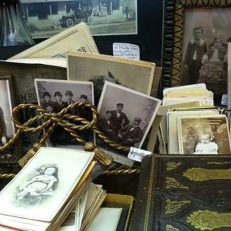 Boxes of vintage photos at Vintage Bank Antiques in Petaluma California