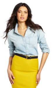 Colorful skirt with denim shirt