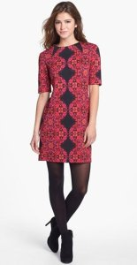 Taylor Red Black Print Dress NAS