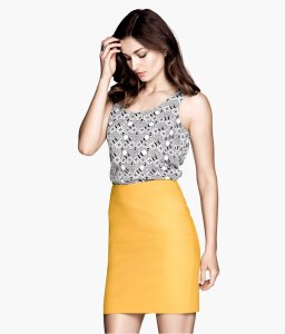 h&m colored pencil skirt