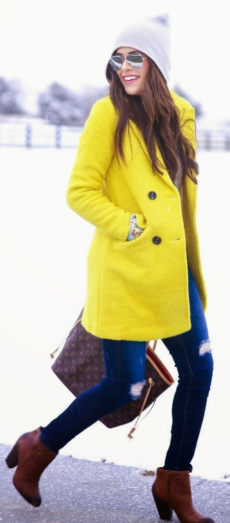 yellow colorful coat