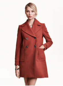h&m double-breasted red coat