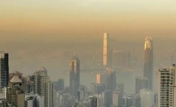 Skyscrapers in sunset mist