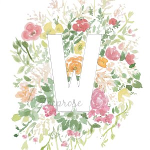 W floral alphabet letter print | Zoeprose