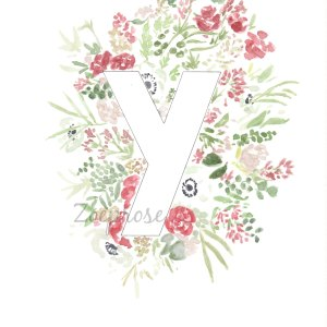 Y floral alphabet print | Zoeprose