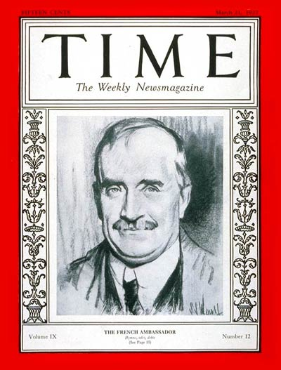 Cover of Time Magazine (March 21, 1927)
