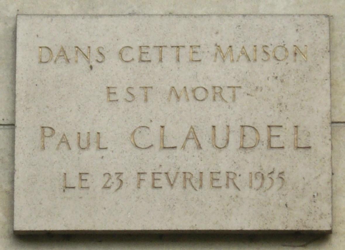 Αναμνηστική πλάκα στο 11, boulevard Lannes όπου ο Paul Claudel πέθανε