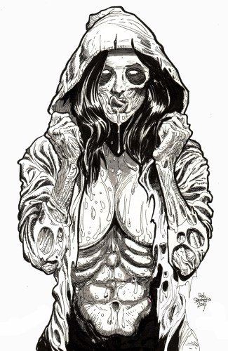 Zombie Pinup Diva 77 Hot Rot Hoodie Zombie Art By Rob