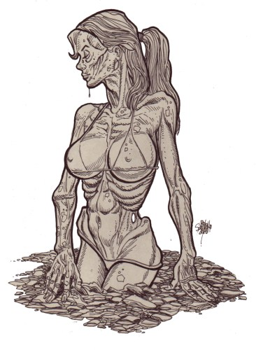 Zombie Art Pinup #210/Pinup Cards! Zombie Art by Rob Sacchetto