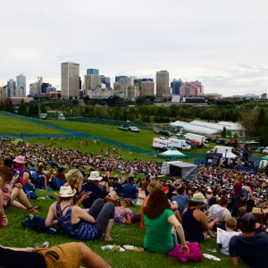 Stage 6 at Folk Fest with a view of the Downtown skyline.