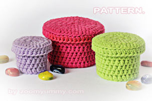 crochet boxes pattern step by step picture tutorial in pdf format