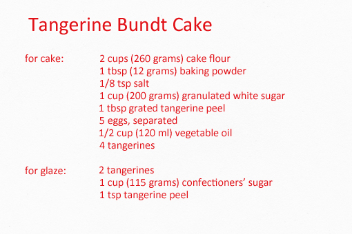 tangerine bundt cake recipe with step by step pictures, ingredients