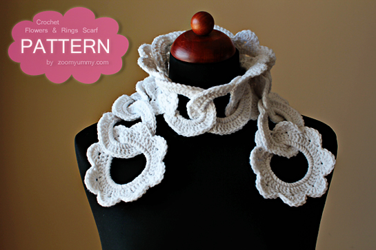 crochet rings and flowers scarf pattern with pictures, tutorial