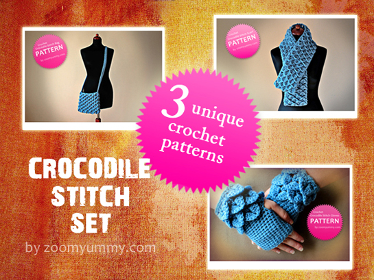 crochet crocodile stitch bag scarf fingerless gloves pdf patters by zoomyummy.com
