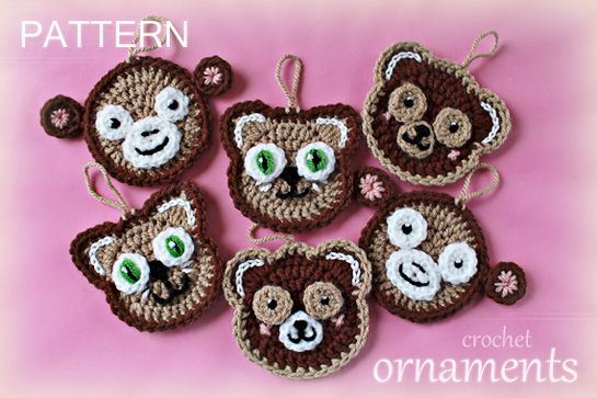crochet animals faces - teddy bear, monkey, cat  - garland, appliques, tree ornaments