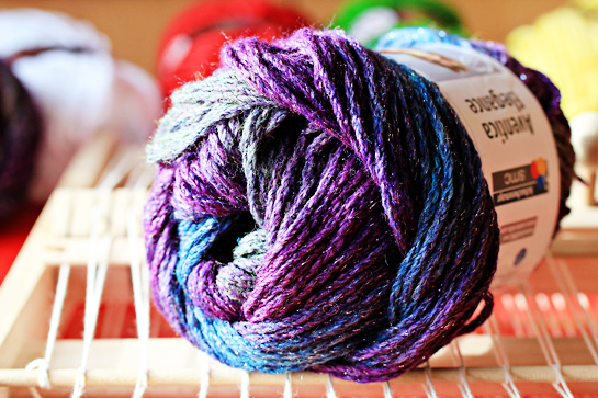 purple skein of yarn