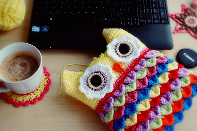 crochet crocodile stitch owl cushion