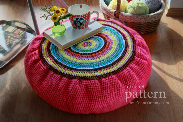 crochet pattern colorful floor cushion