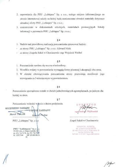 Skan porozumienia z Lubinpex, strona 2