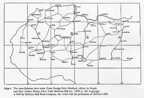 Mappa delle rotte sahariane del traffico di schiavi